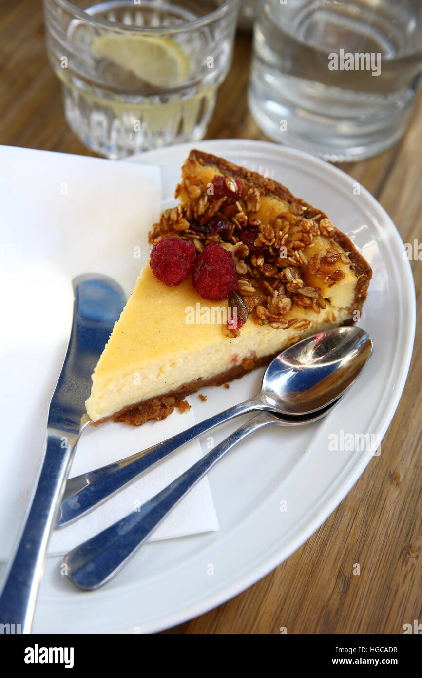 a slice of Baked Cheese cake - Stock Image