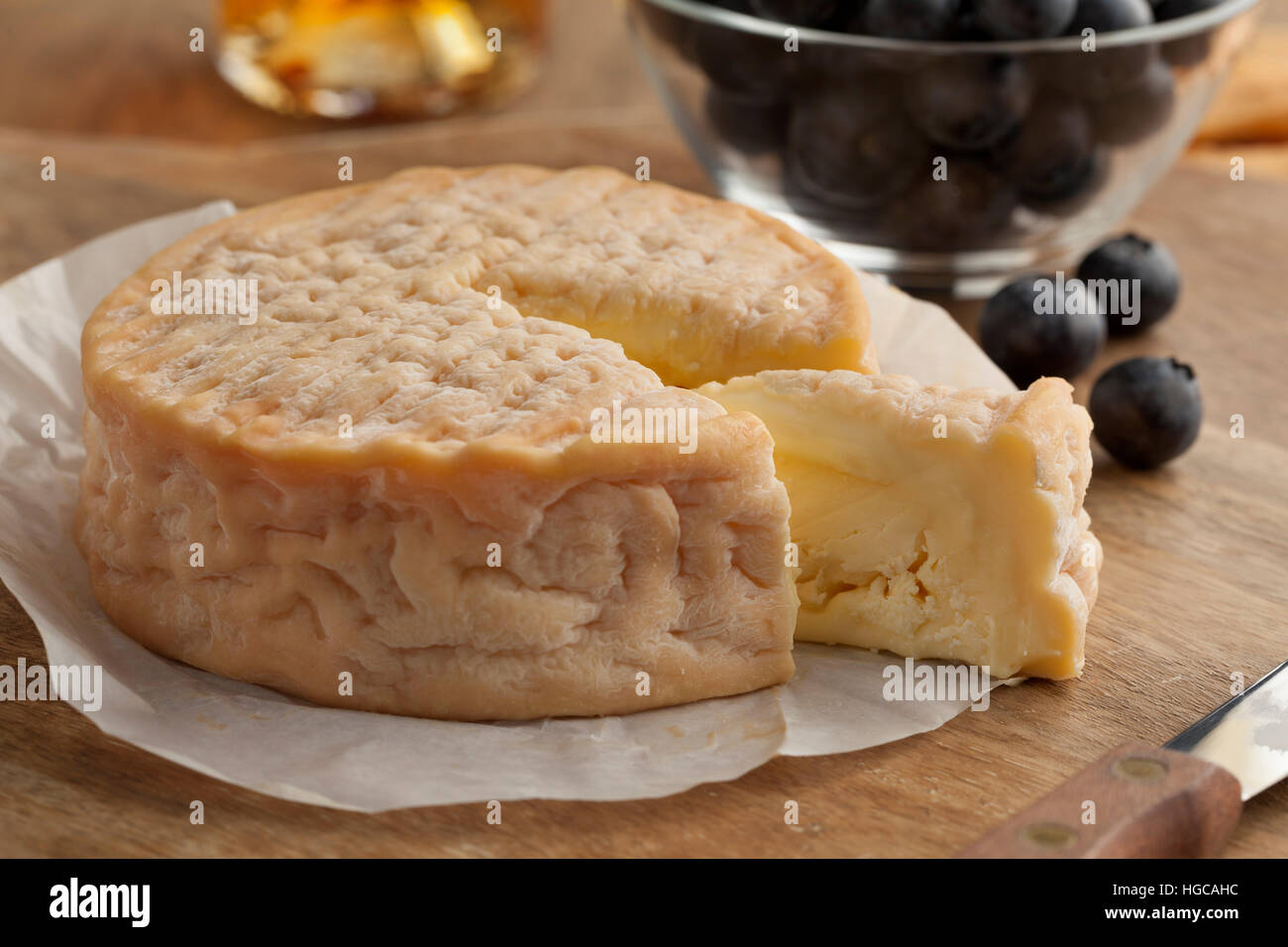 Creamy ripe Epoisses cheese close up - Stock Image