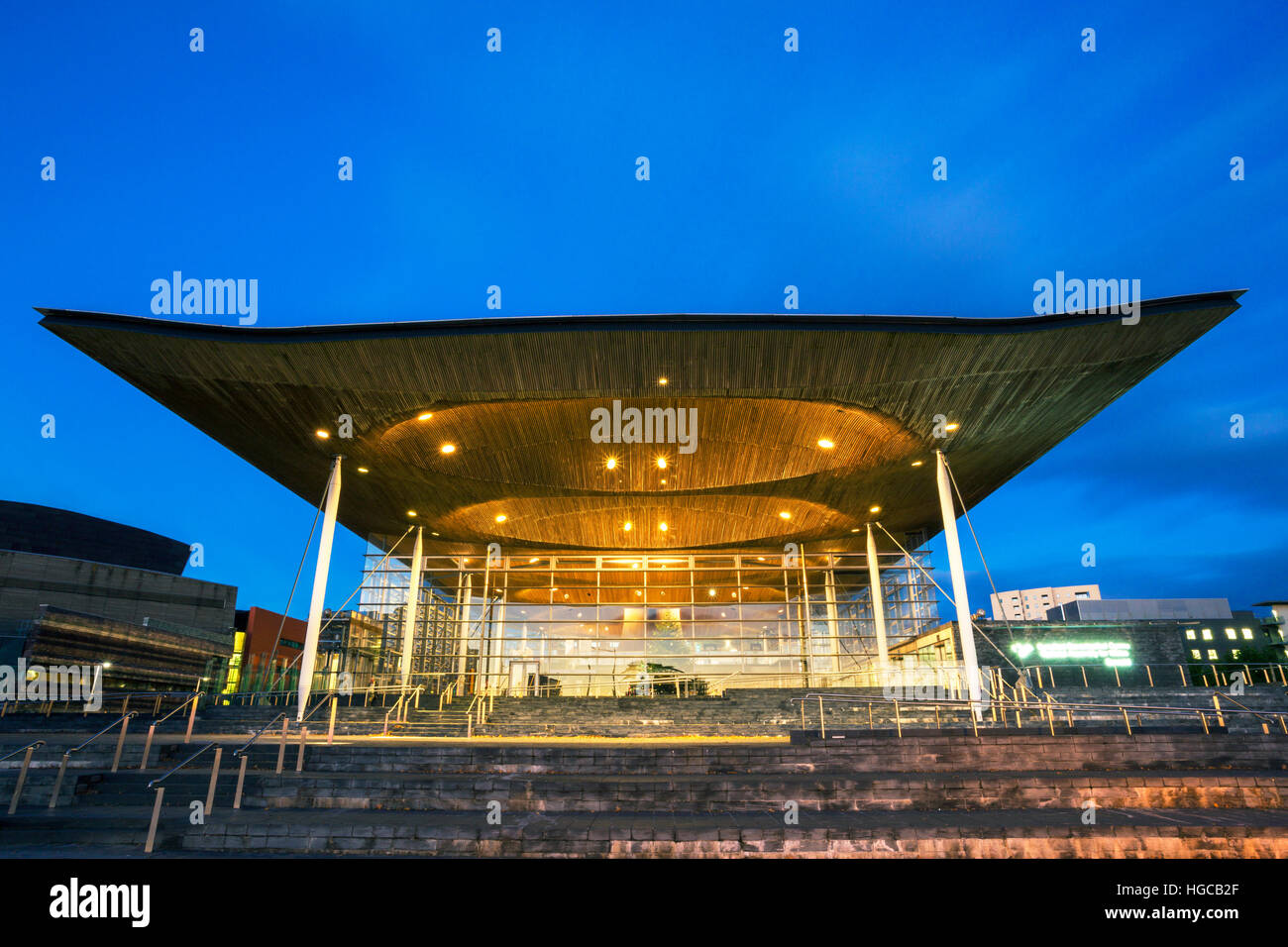 National Assembly for Wales, Night, The Senedd, Cardiff Bay, Cardiff, Wales, UK Stock Photo