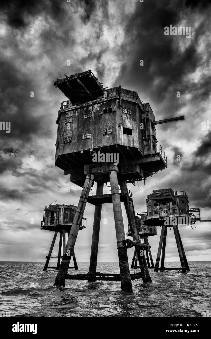 Maunsell Forts in the Thames Estuary - Stock Image