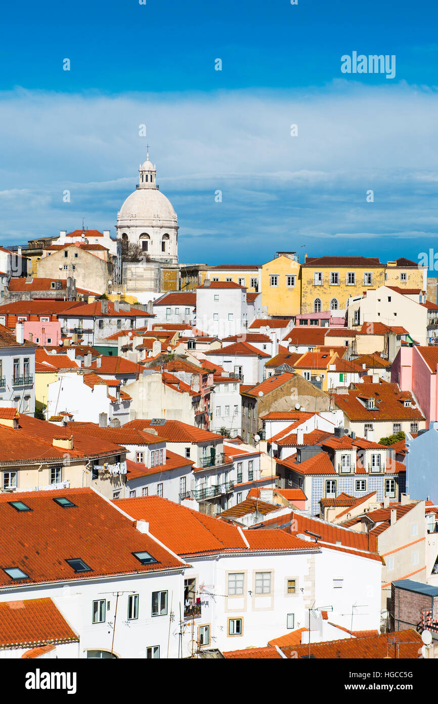 View of the Alfama Neighbourhood in Lisbon, Portugal, with colorful buildings and the National Pantheon - Stock Image