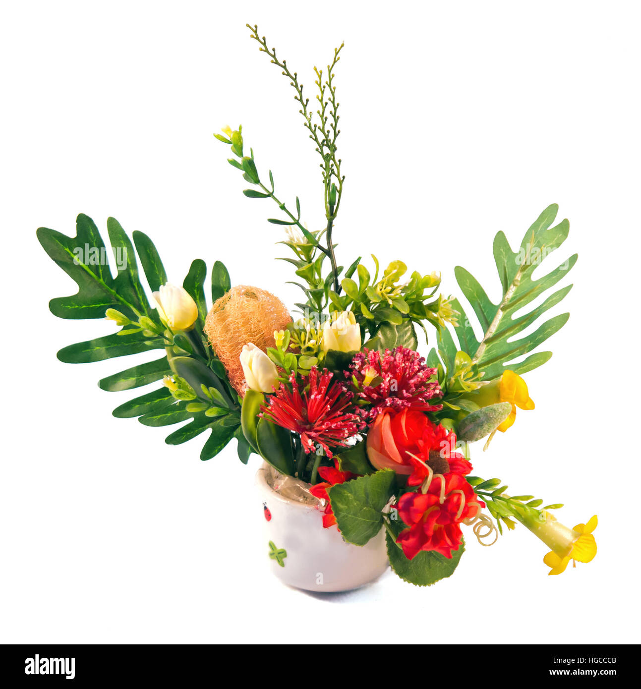 Flowers bouquet arranging in a vase isolated on white for home decoration or graphic resource - Stock Image