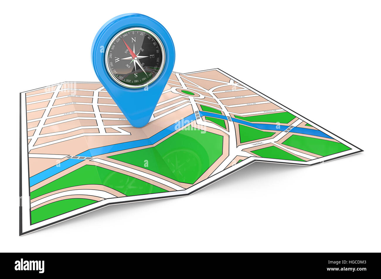 3D render of a Map with GPS Pointer and Compass. - Stock Image