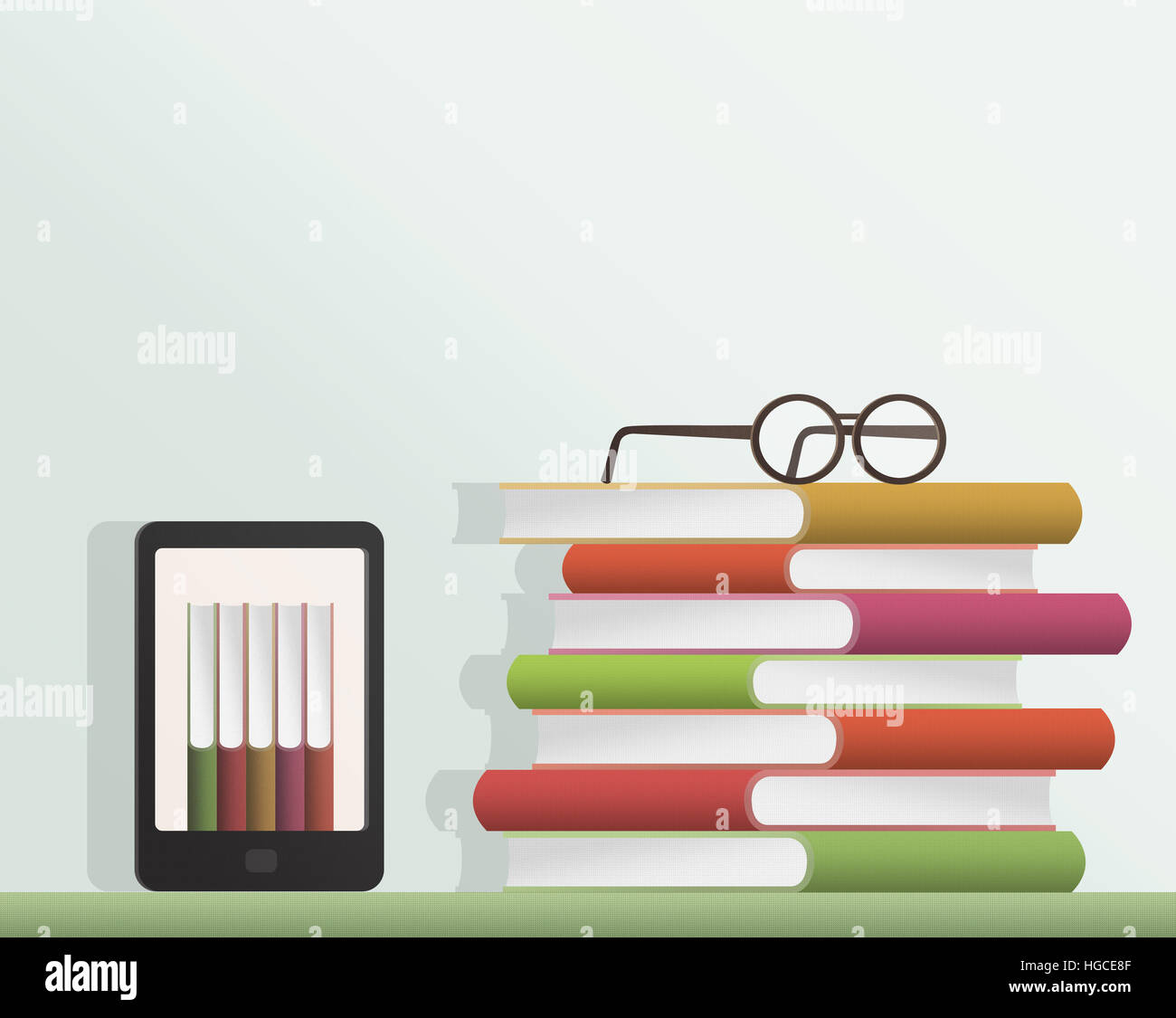 E-book, books and glasses illustration - Stock Image