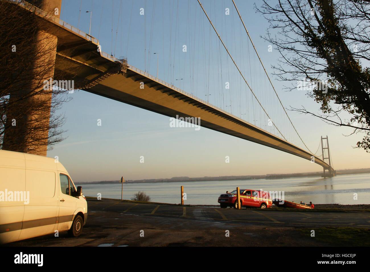 Humber bridge, Hessle, east Yorkshire - Stock Image