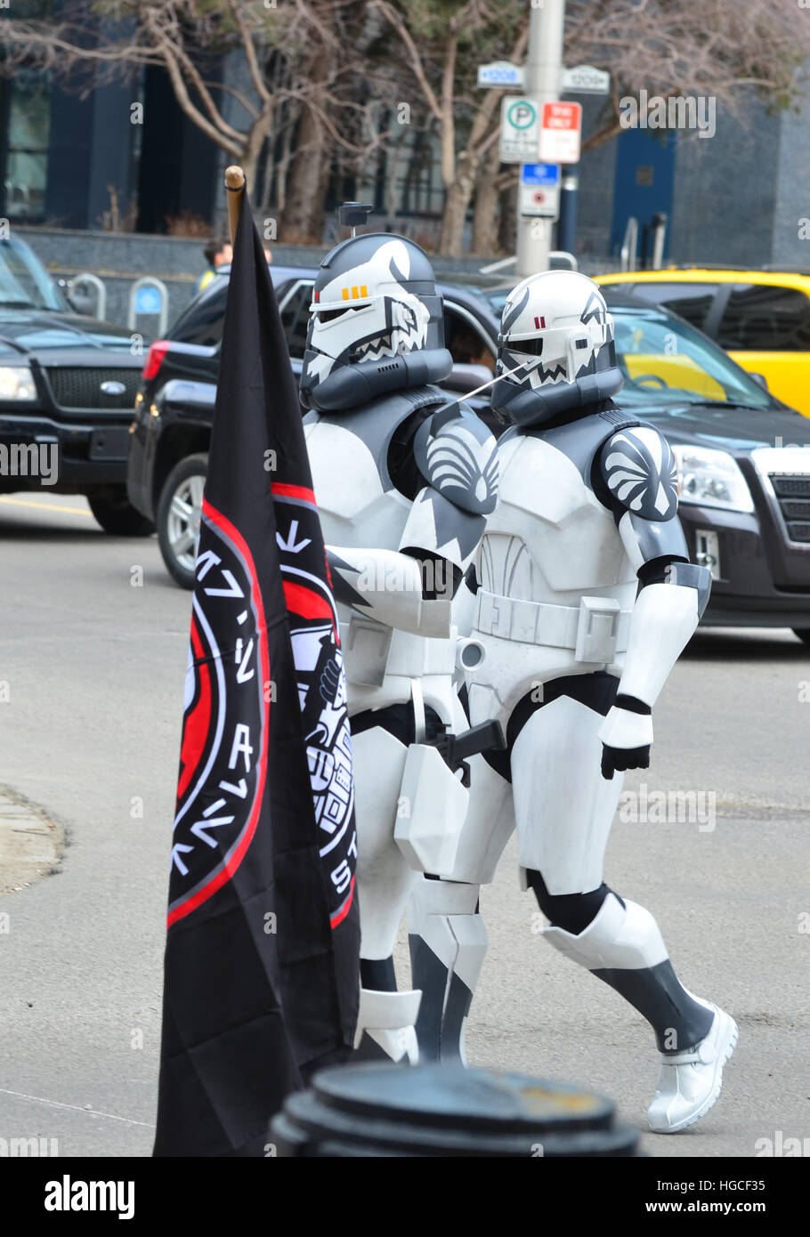 Calgary, Alberta, Canada, April 24 2014: Comic and Entertainment Expo Parade pair of Clone Troopers from Star Wars - Stock Image