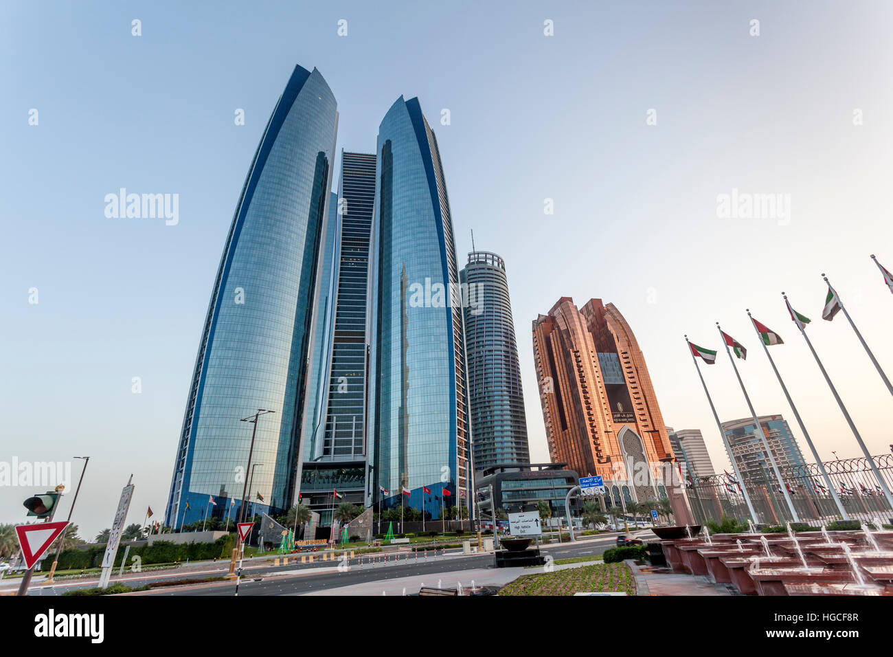 The Etihad Towers in the city of Abu Dhabi - Stock Image