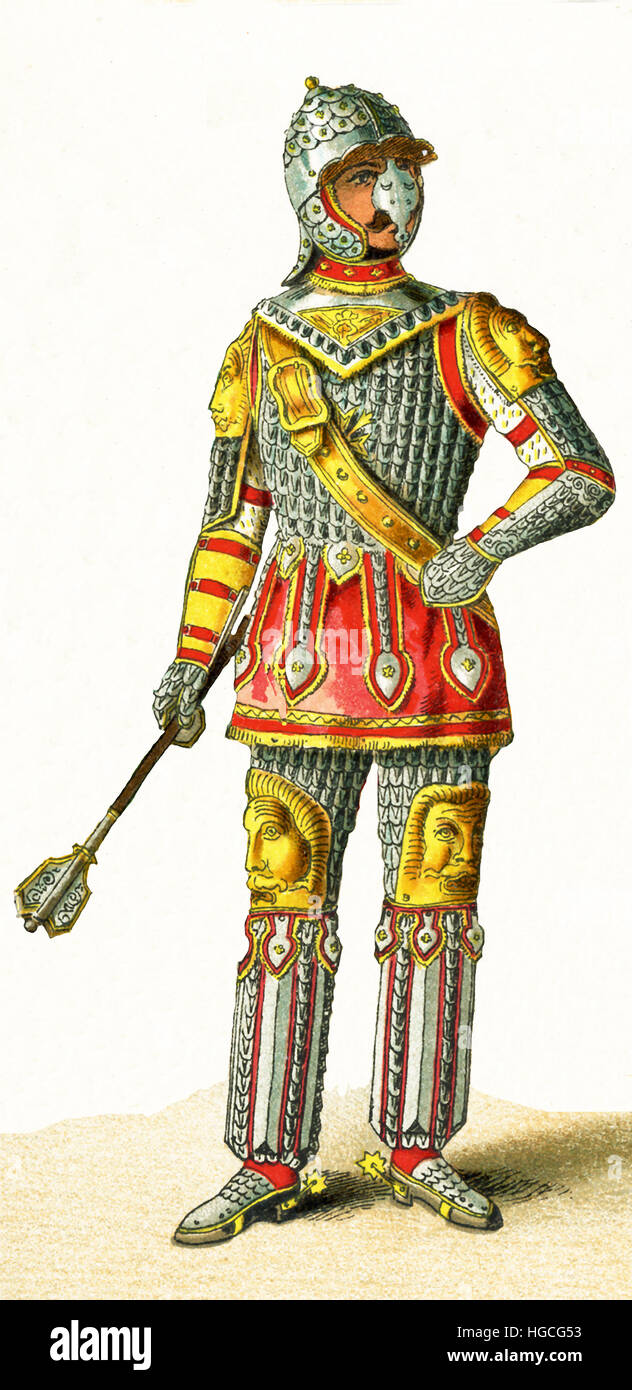 The figure pictured here is a Polish chief about the year 1500. The illustration dates to 1882. Stock Photo
