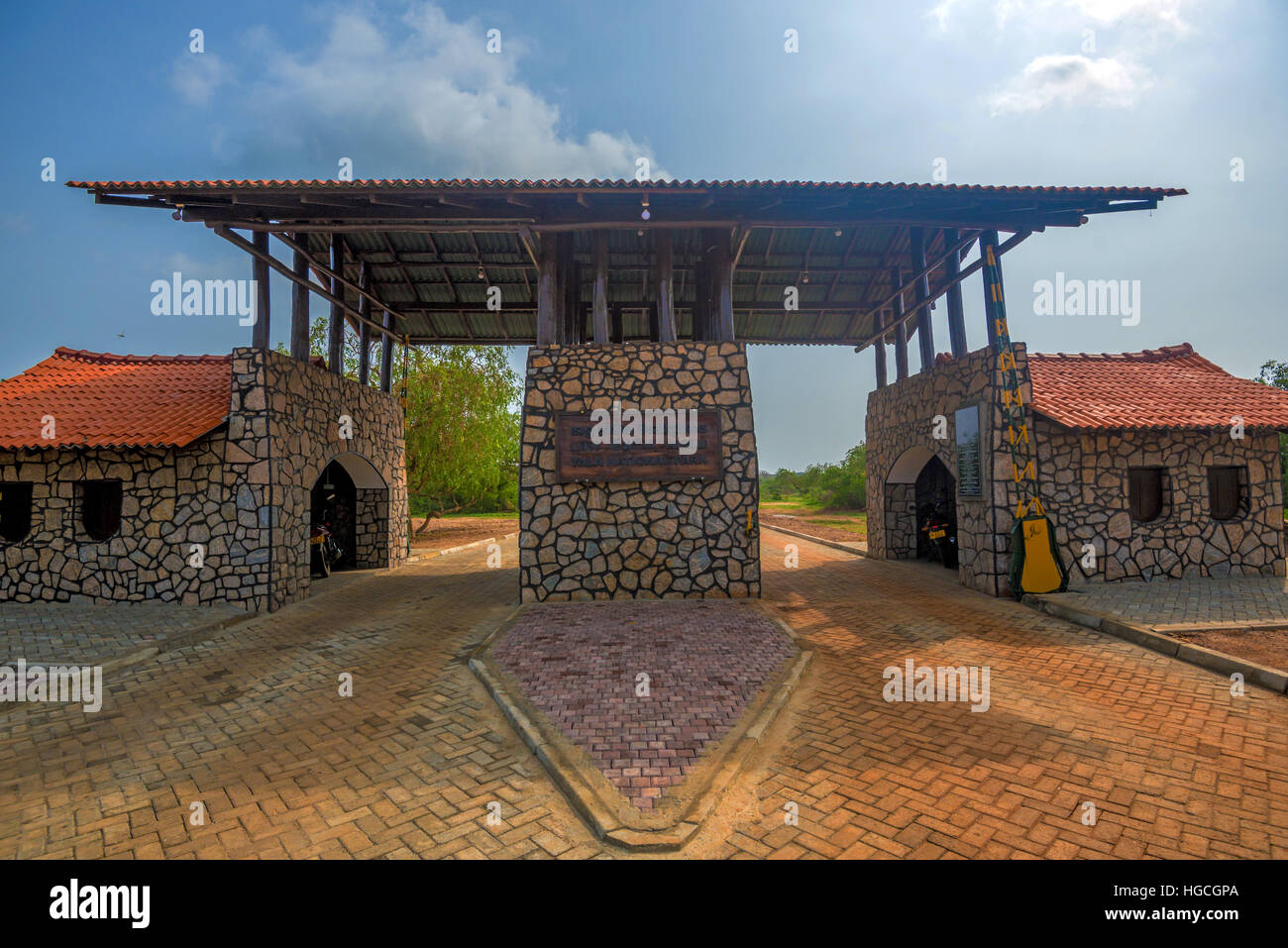 Entrance gate of Yala national park, Sri Lanka - Stock Image