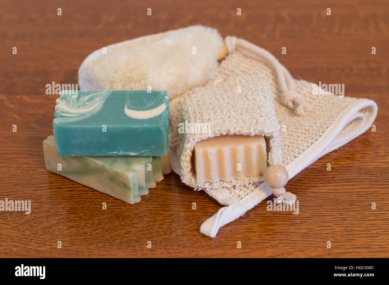 Close Up Of Three Bars Of Goats Milk Soap One In Ramie Soap Holder Stock Photo Alamy