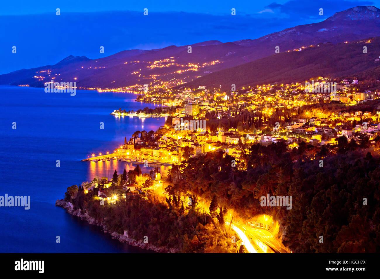 Opatija riviera bay evening view, Kvarner region of Croatia - Stock Image