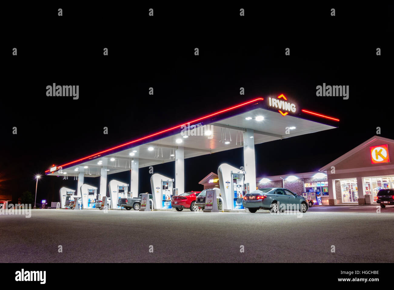 Irving gas station and Circle-K at night  petrol station