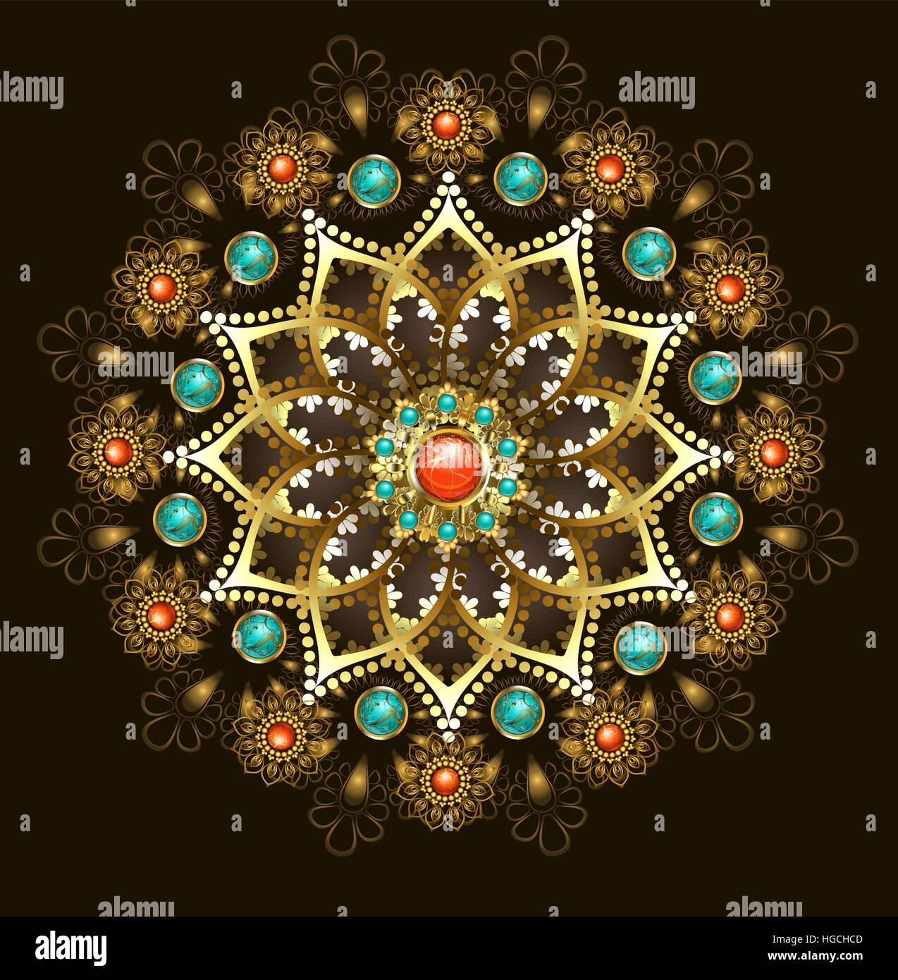 Gold jewelery mandala, decorated with turquoise and jasper on a black background. Jewelry Design.  Oriental pattern. - Stock Vector