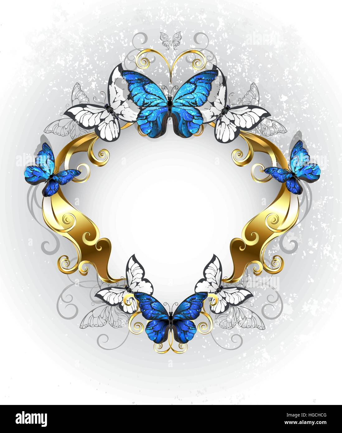 Jewelry gold patterned banner with blue and white butterflies