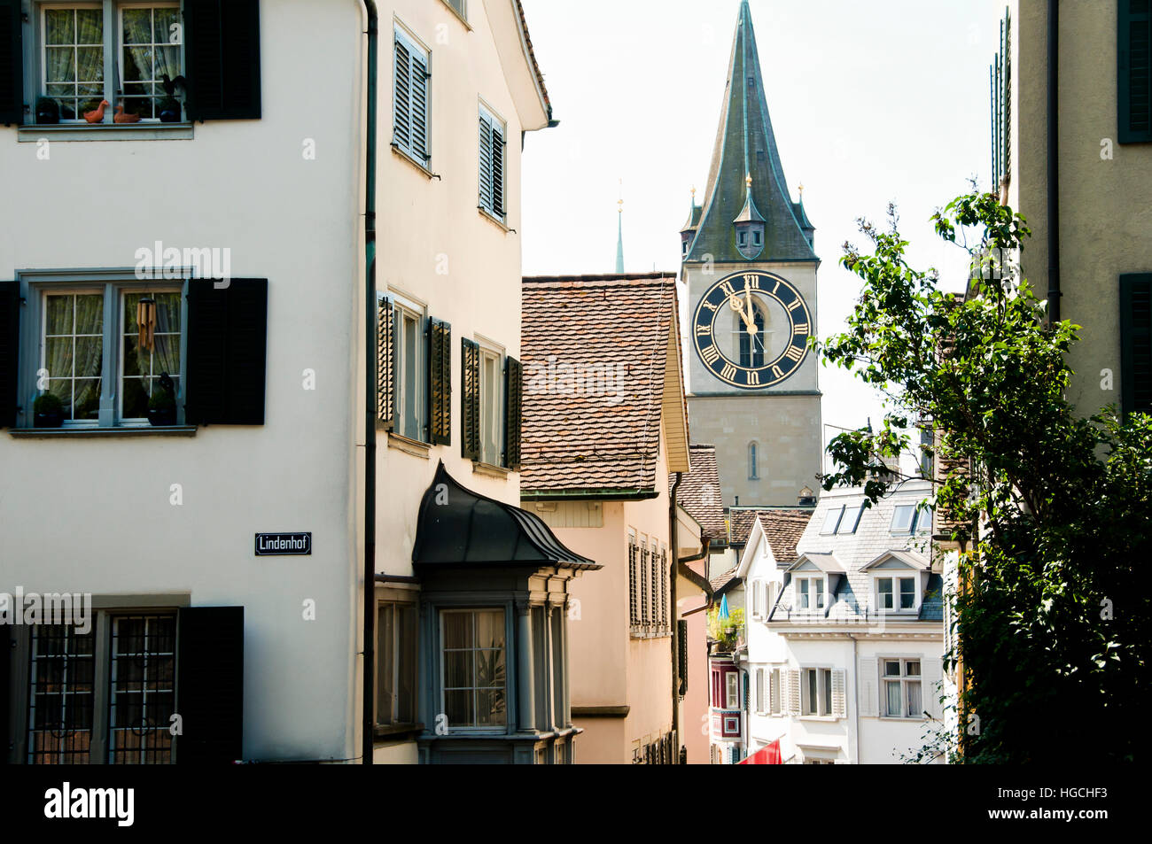 Buildings in Lindenhof - Zurich - Switzerland - Stock Image