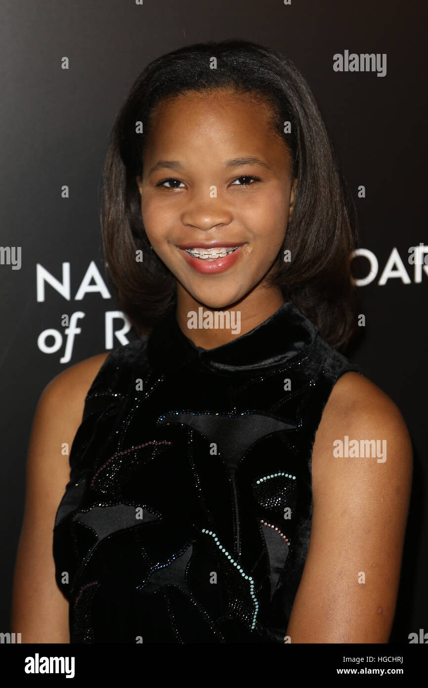 NEW YORK-JAN 4: Actress Quvenzhane Wallis attends the National Board of Review Gala at Cipriani Wall Street in New - Stock Image