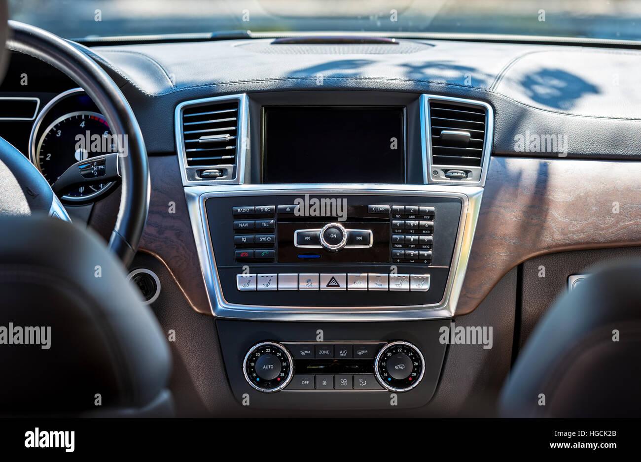 Car Interior Luxury Beige Comfortable Seats Steering Wheel Stock