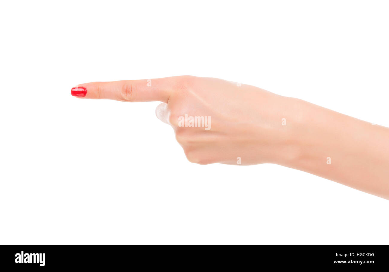 Human hand point with finger - Stock Image