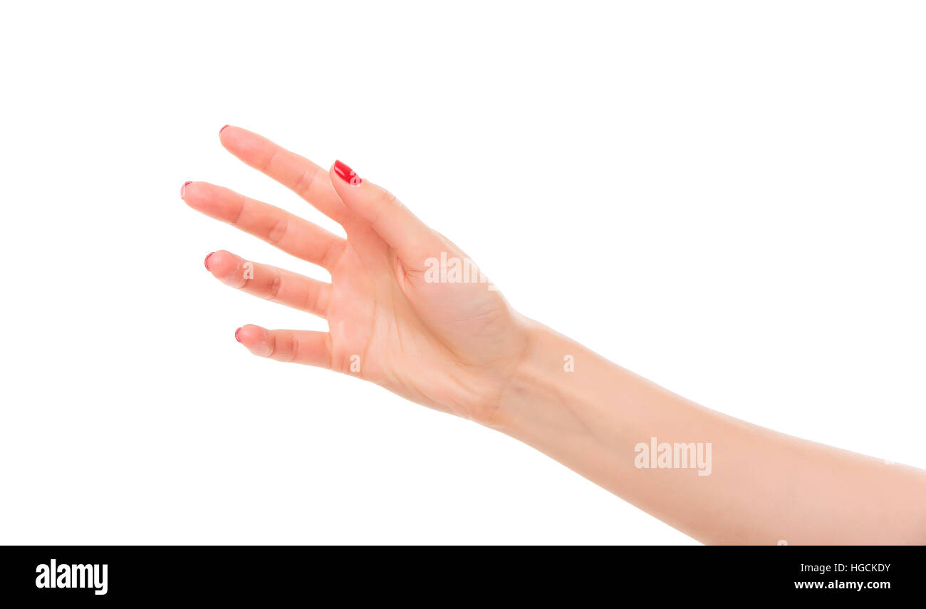 Beautiful woman hand holding or stretches. - Stock Image