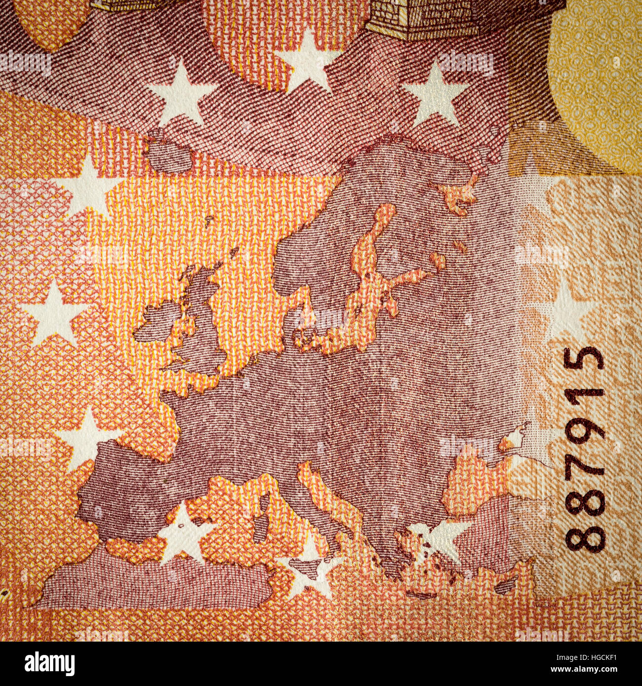 detail of a the € 10 banknote - Stock Image