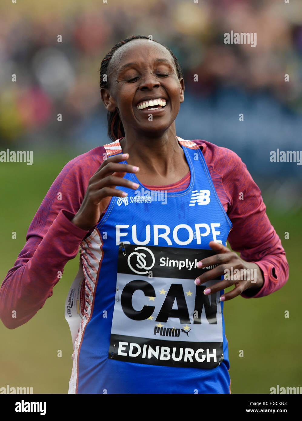 Europe's Yasemin Can wins the Women's 6k event during the 2017 Great Edinburgh International XCountry in - Stock Image