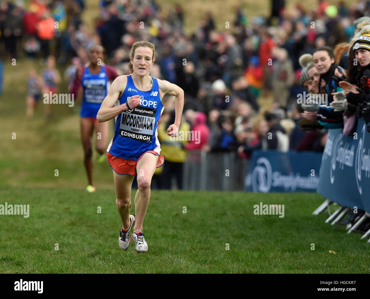 Europe's Fionnuala McCormack finishes second in the Women's 6k event during the 2017 Great Edinburgh International - Stock Image