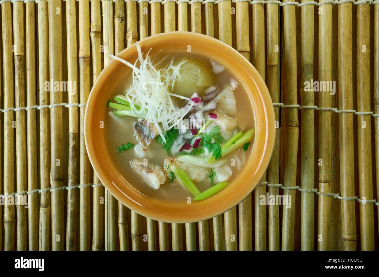 Tekwan  fish soup typical of Palembang, Indonesia - Stock Image