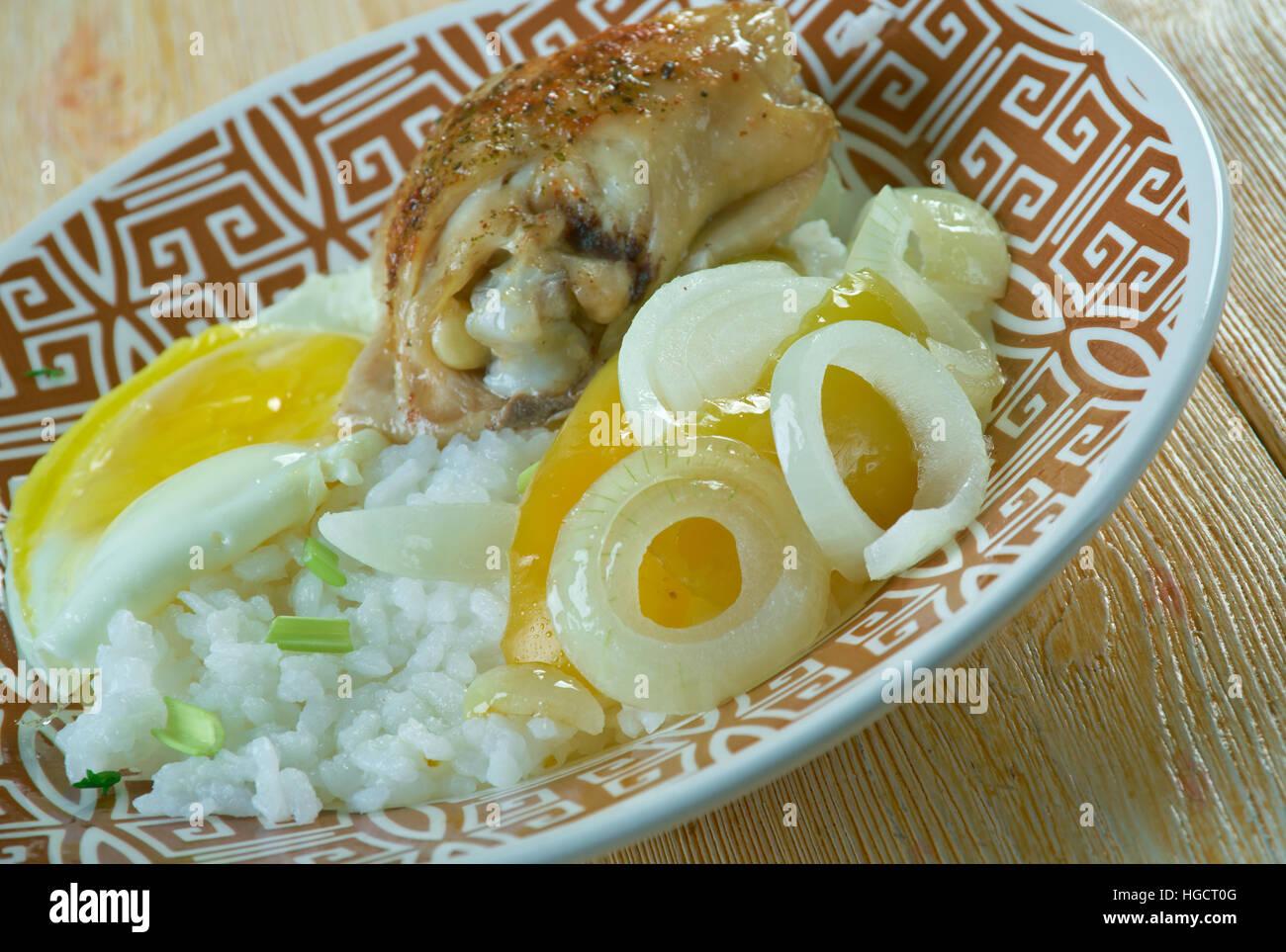 Hainanese curry rice -  Chinese Singaporean dish Stock Photo