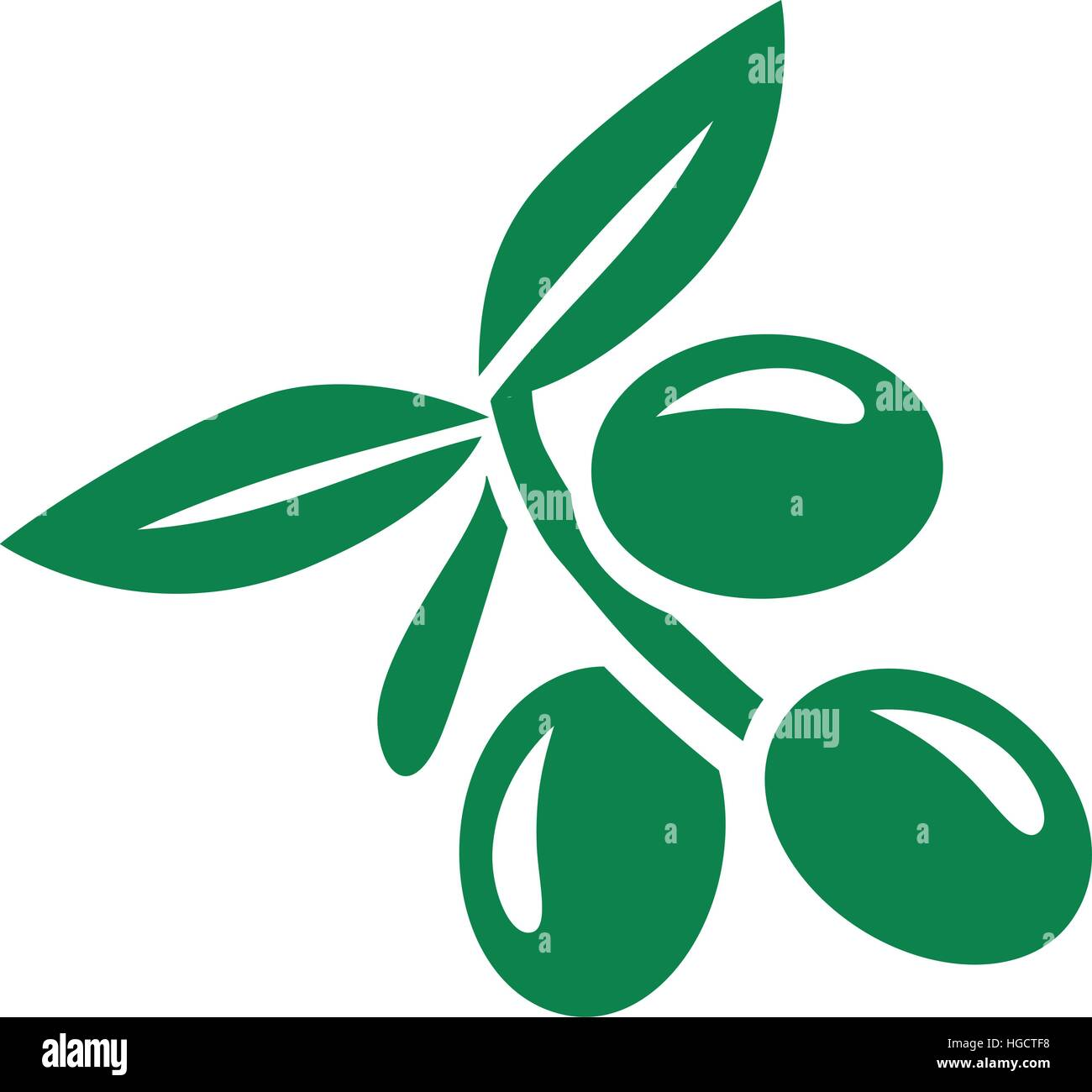 Olive with leaf - Stock Vector
