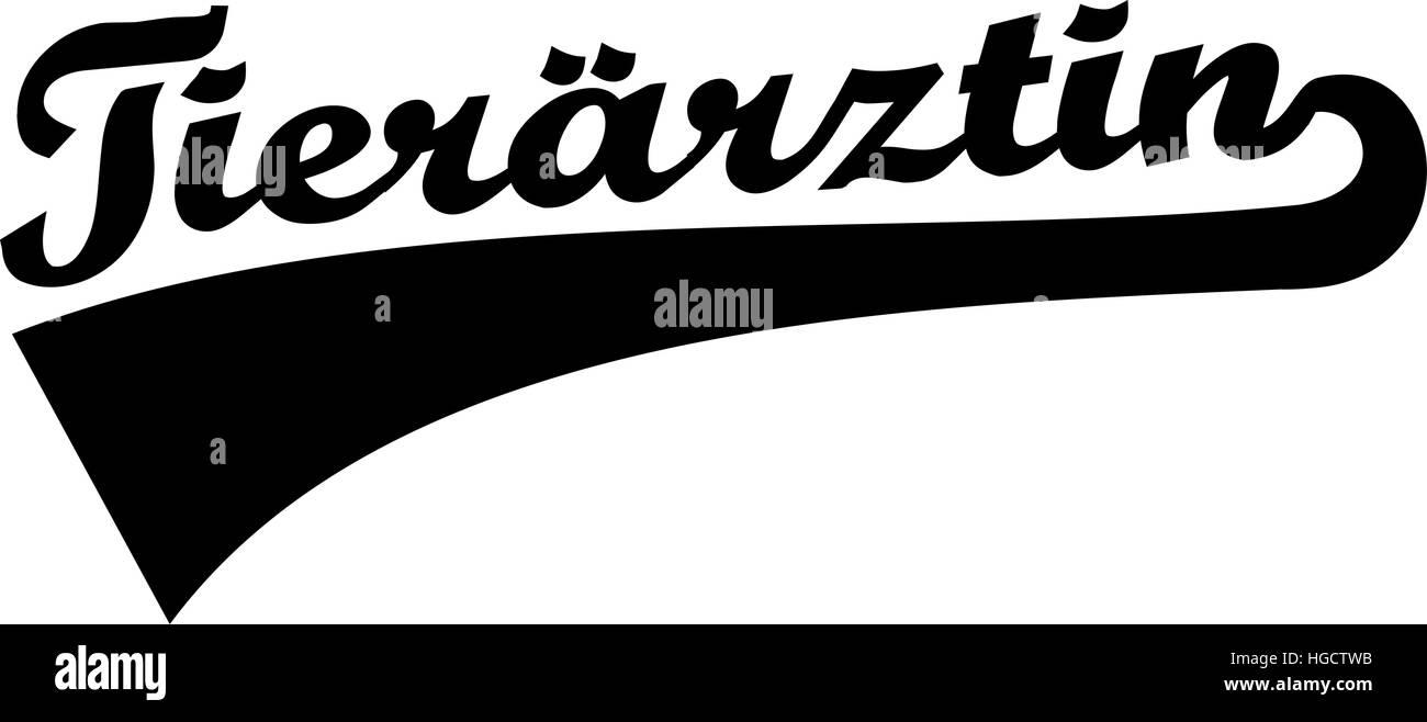 Female Veterinarian - german retro word - Stock Image