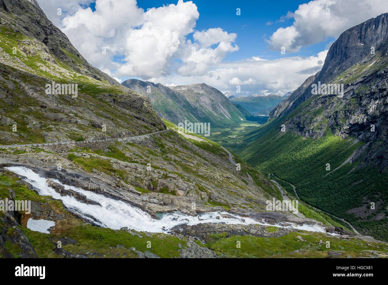 Trollstigen canyon landscape - Stock Image