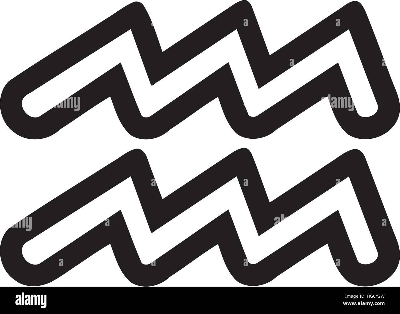 Zodiac Sign Aquarius Outline Stock Vector Art Illustration Vector