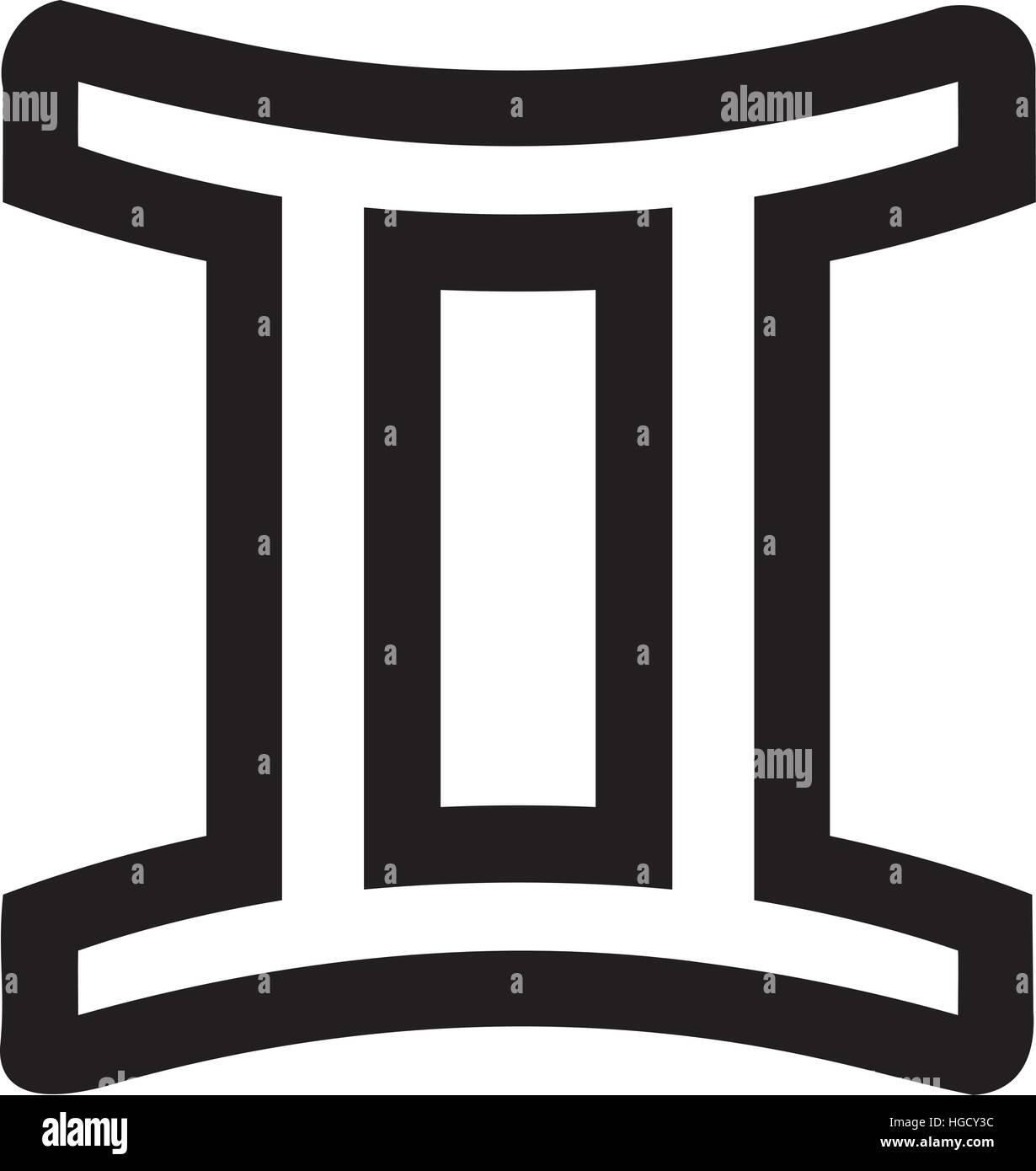 Zodiac Sign Gemini Outline Stock Vector Art Illustration Vector