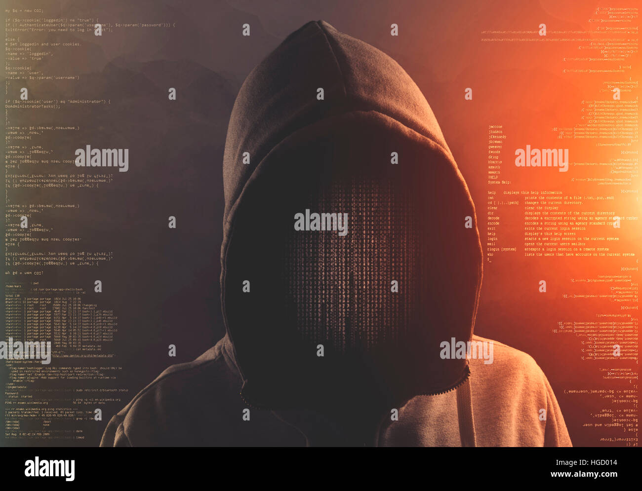 hacker at work with graphic user interface around - Stock Image