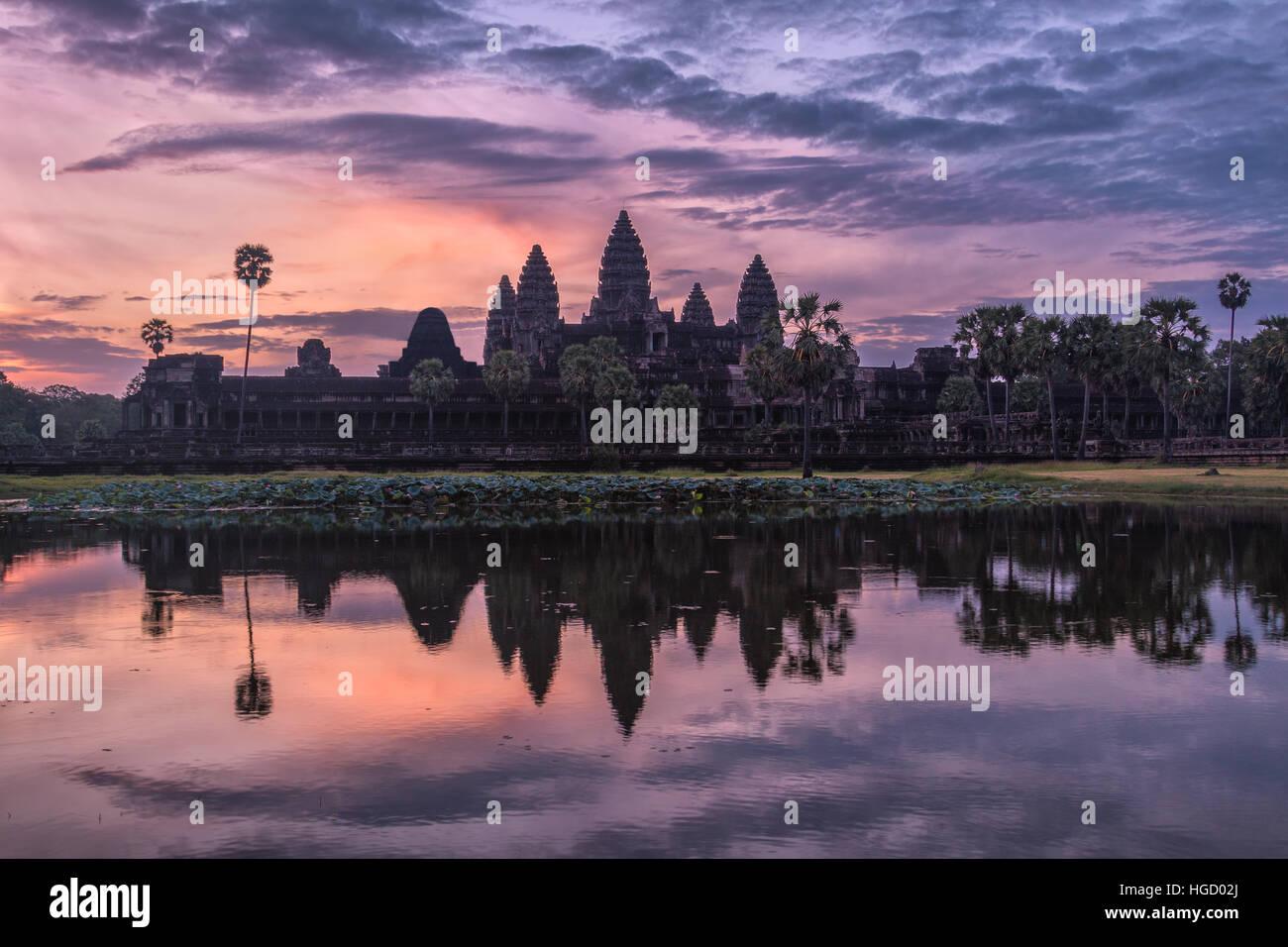 Angkor Wat at Sunrise, Cambodia - Stock Image