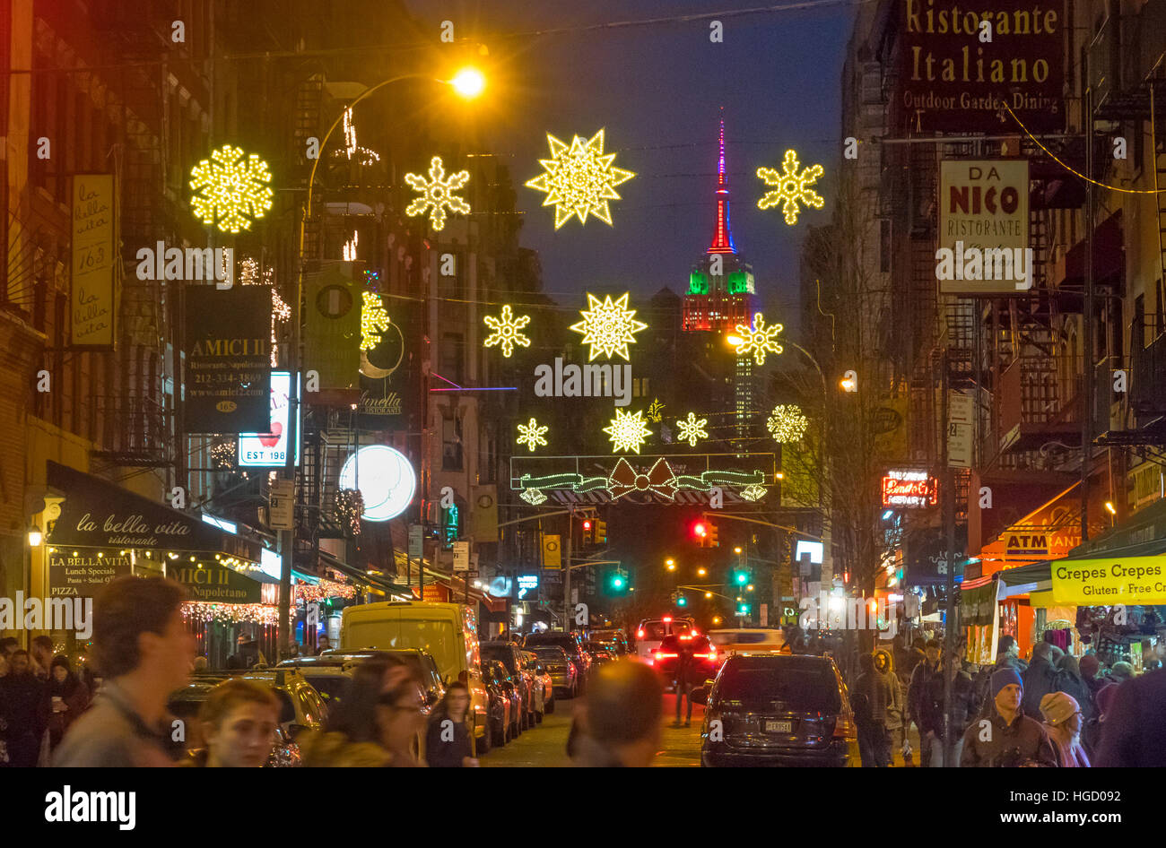 Empire State Building with Christmas lights seen from Mulberry Street in Little Italy Stock Photo