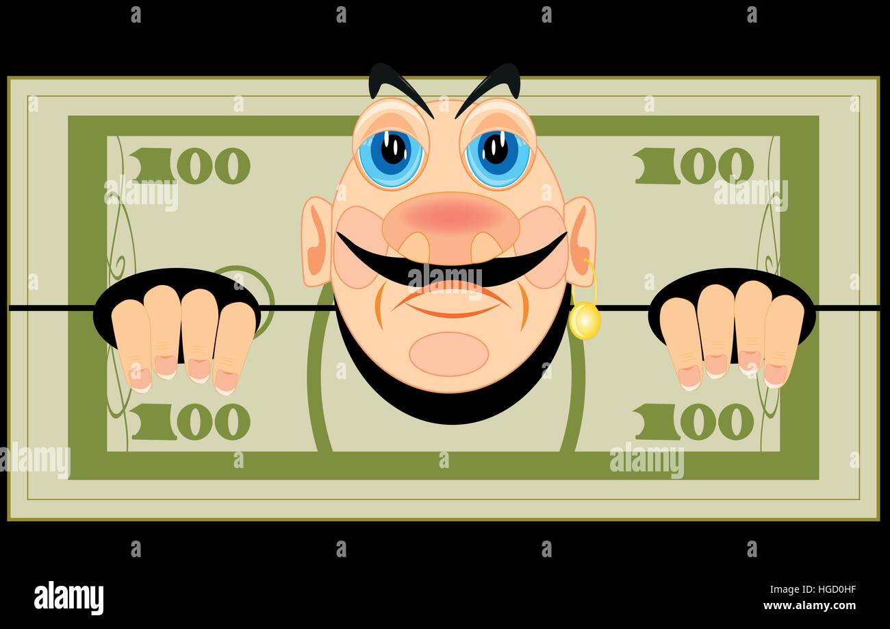 Banknote one hundred dollars with person - Stock Vector