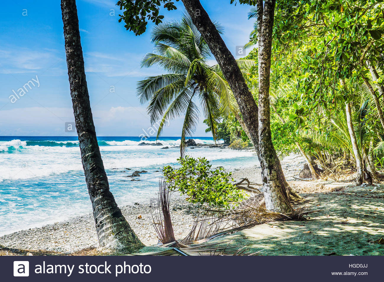 Empty beach and coast line, Costa rica, Central America 2015 Stock Photo
