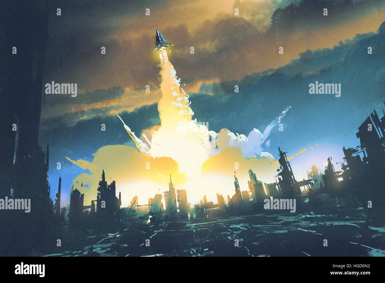 rocket launch take off from an abandoned city,sci-fi concept,illustration painting - Stock Image