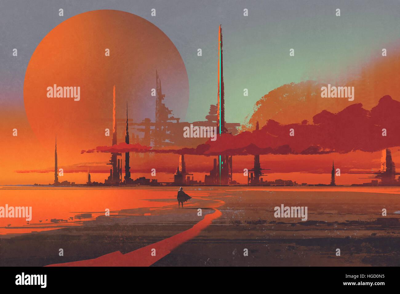 sci-fi construction in the desert,illustration digital painting Stock Photo