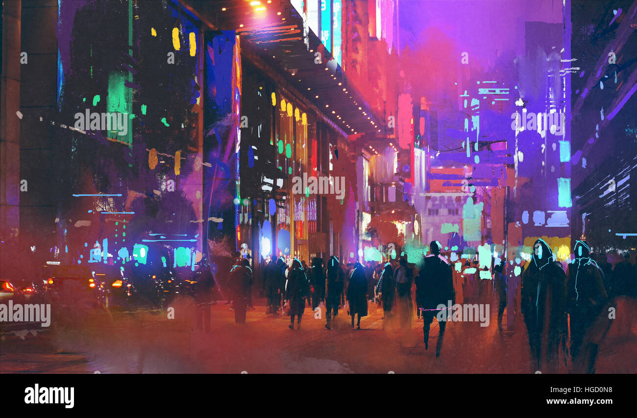 people walking in the sci-fi city at night with colorful light,illustration painting - Stock Image