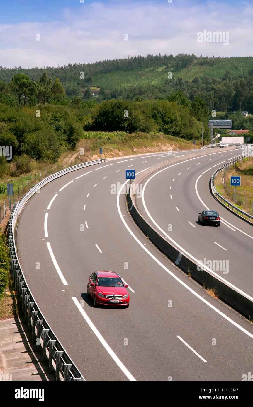 AG-11 motorway, Rianxo, La Coruña province, Region of Galicia, Spain, Europe - Stock Image