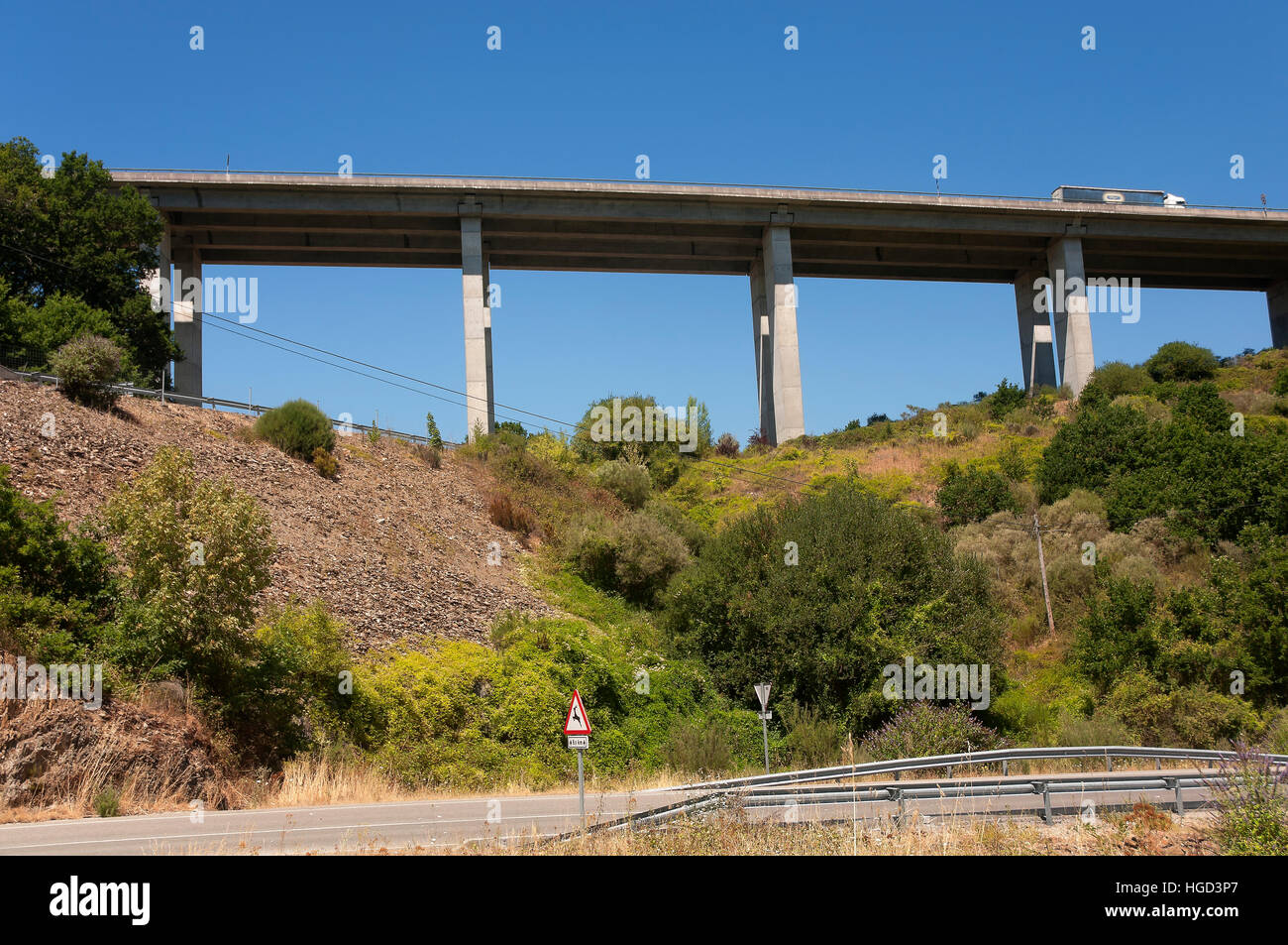 Viaduct, Becerrea, Lugo province, Region of Galicia, Spain, Europe - Stock Image
