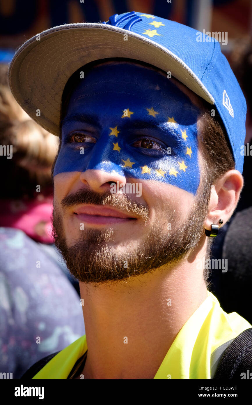 Man with European Union flag painted on his face at Brexit protest follwing EU referendum - Stock Image