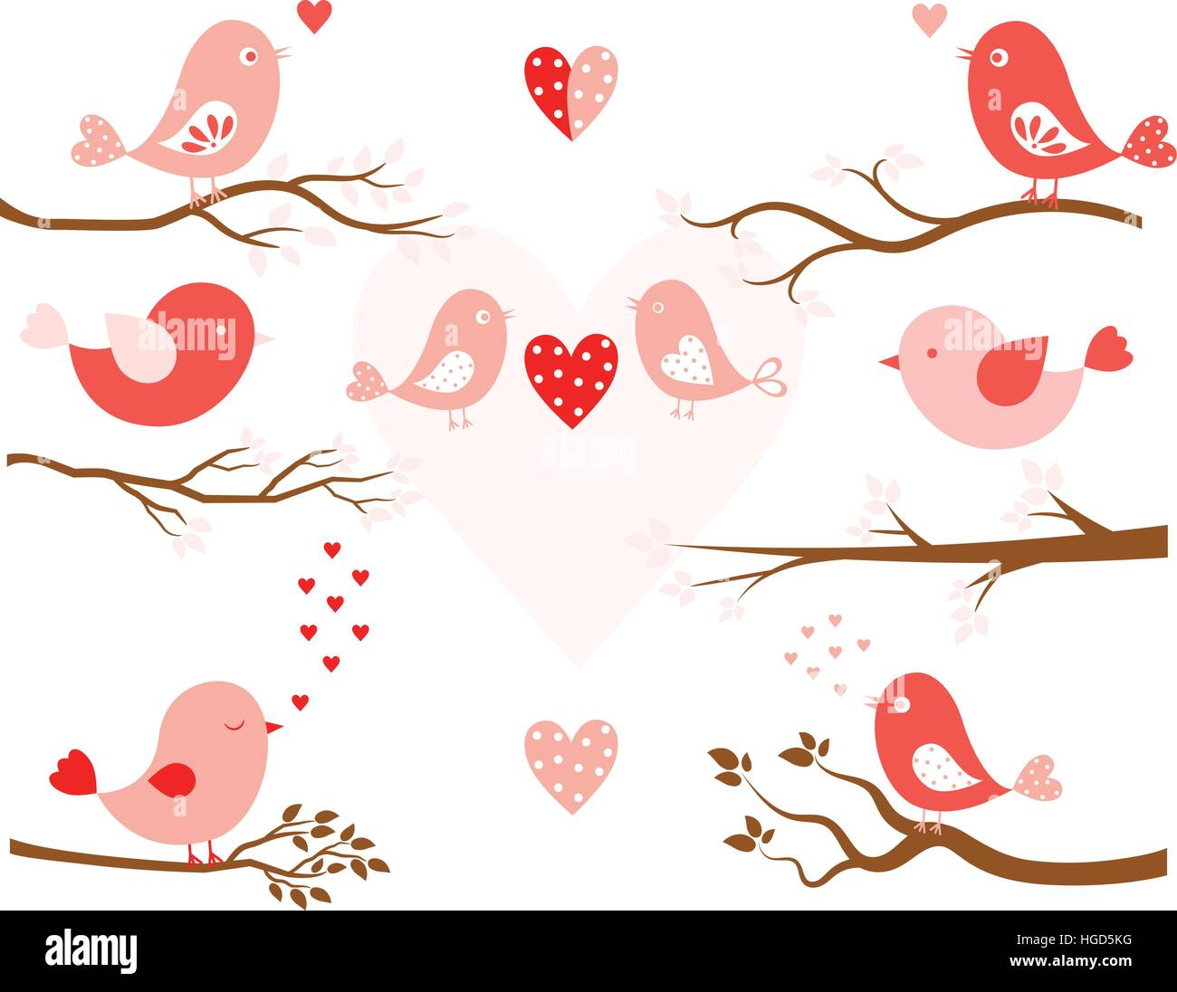 Stylized Birds In Pink And Tree Branches In Brown In Flat