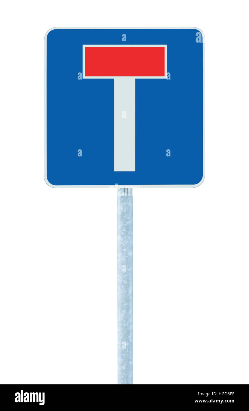 Dead end no through road traffic sign, isolated roadside T signage on pole post signpost signboard, blue, red, large - Stock Image