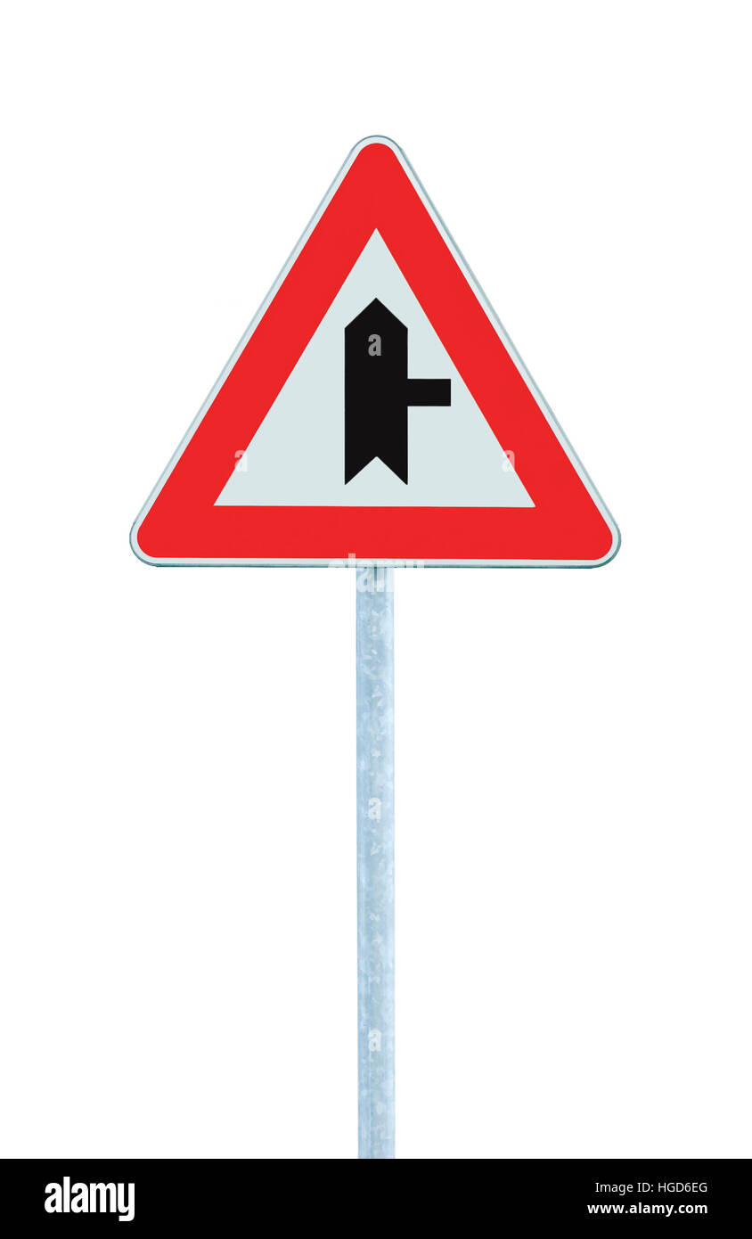 Crossroads Warning Main Road Sign With Pole Right, isolated, large detailed vertical closeup - Stock Image