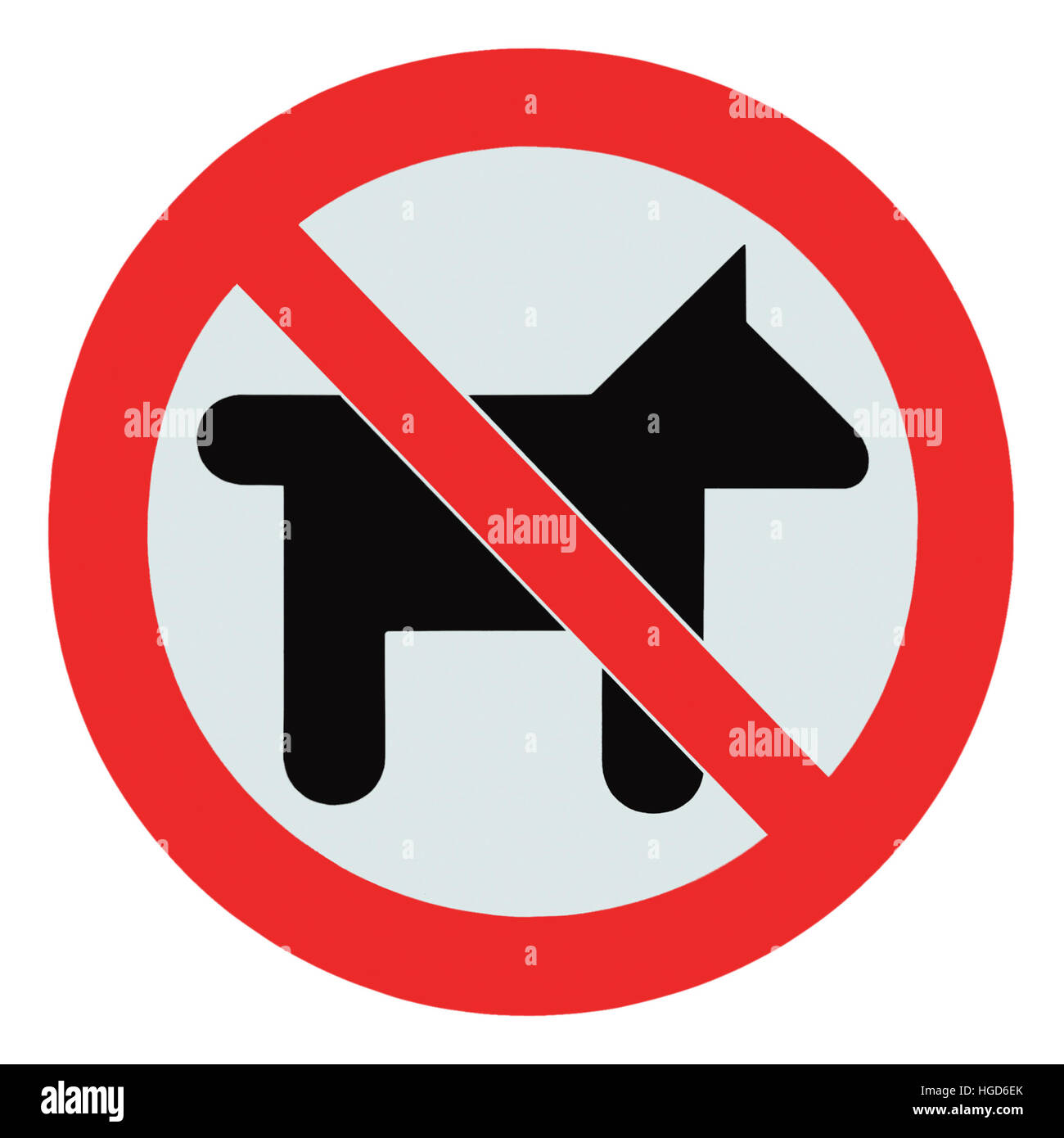 No dogs pets allowed, warning sign icon, isolated round,macro,closeup - Stock Image