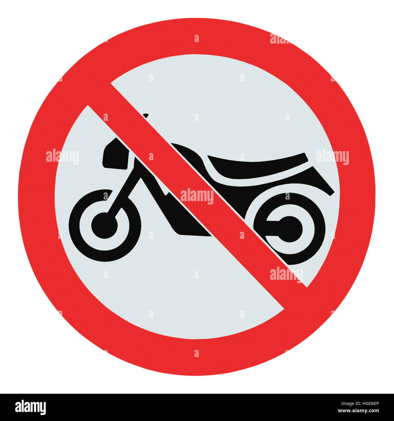 No motorcycle sign, isolated no bikes allowed prohibition zone warning signage icon macro closeup - Stock Image