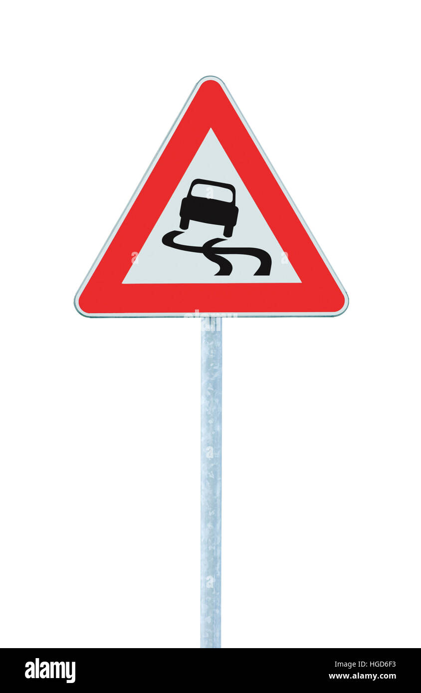 Slippery when wet road sign, isolated signpost traffic signage, large detailed vertical closeup - Stock Image